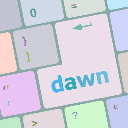 up code: business concept: computer keyboard with word dawn vector illustration