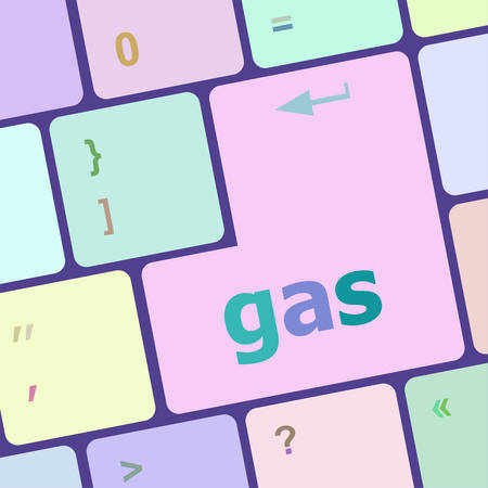 notebook computer: gas word on keyboard key, notebook computer button vector illustration