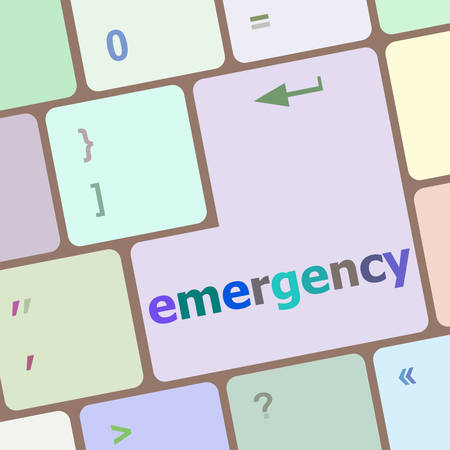 notebook computer: emergency word on keyboard key, notebook computer button vector illustration
