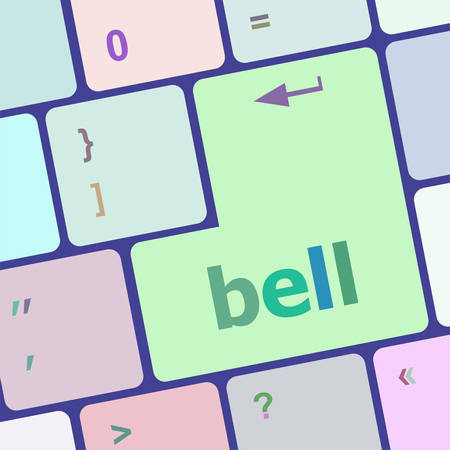 key pad: bell button on computer pc keyboard key vector illustration