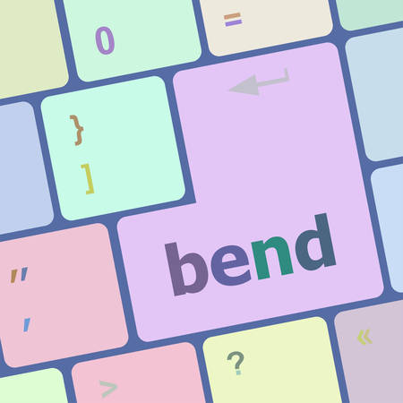 notebook computer: bend word on keyboard key, notebook computer button vector illustration Illustration