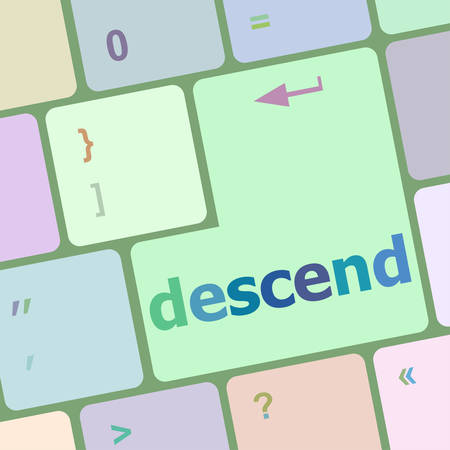 descend: descend button on computer pc keyboard key vector illustration