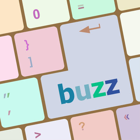 buzz: buzz word on computer keyboard key vector illustration Illustration
