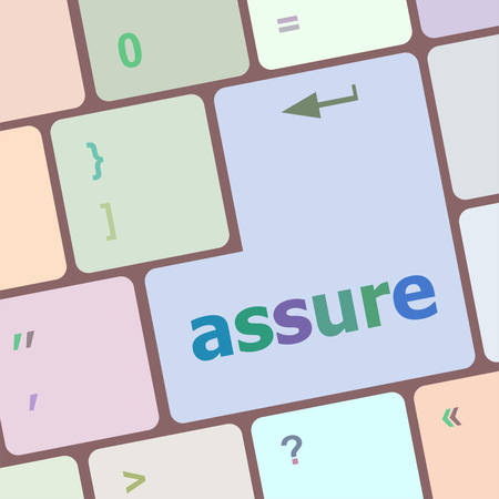 assure: Keyboard with enter button, assure word on it vector illustration