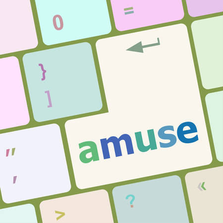 amuse: Keyboard with white Enter button, amuse word on it vector illustration