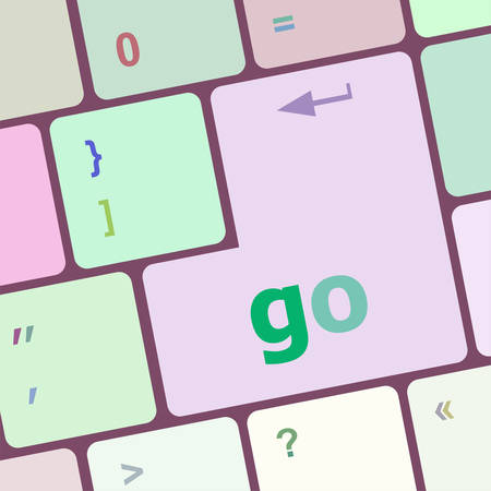 notebook computer: go word on keyboard key, notebook computer button vector illustration
