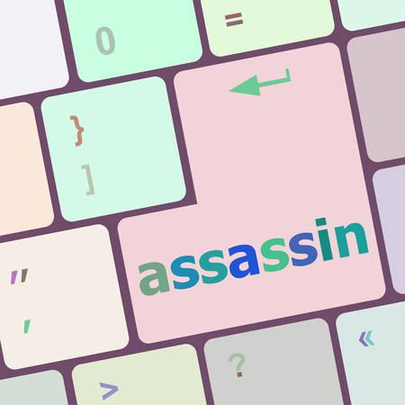 assassin: assassin word on computer pc keyboard key vector illustration Illustration