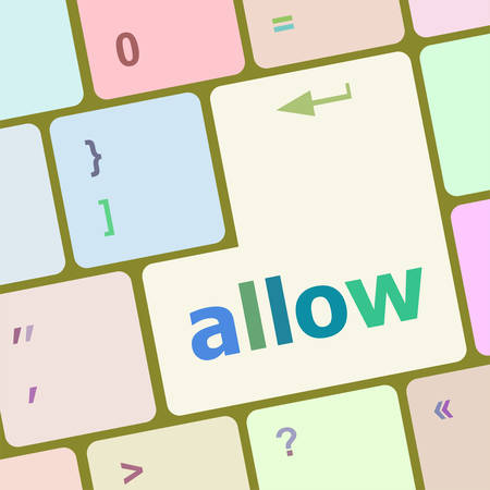allow: allow words concept with key on keyboard vector illustration Illustration