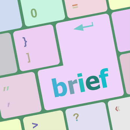 brief: Brief text button on keyboard with soft focus vector illustration