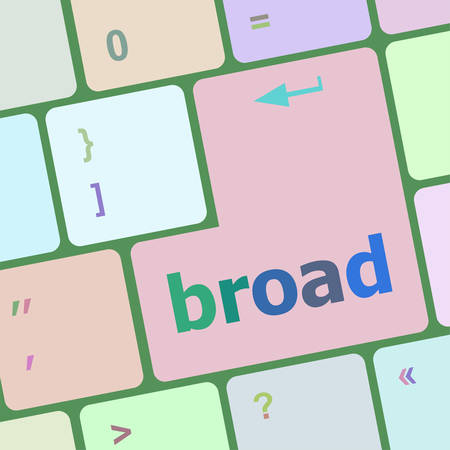 broad: broad word on keyboard key vector illustration