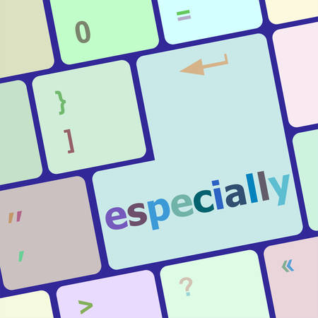 especially: Computer keyboard key with especially word vector illustration