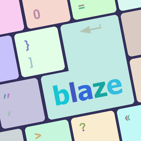 notebook computer: blaze word on keyboard key, notebook computer button vector illustration