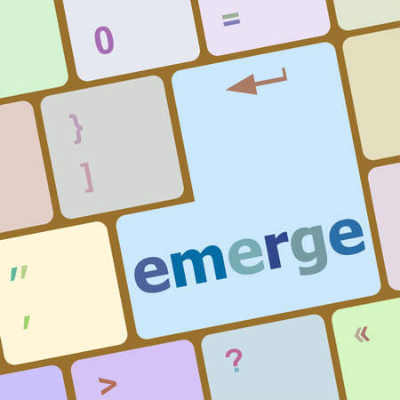 emerge: emerge word on keyboard key, notebook computer button vector illustration