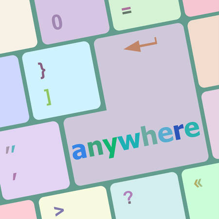 anywhere: Keyboard with enter button, anywhere word on it vector illustration