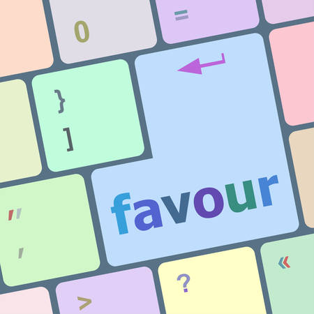 favour: favour word on computer pc keyboard key vector illustration