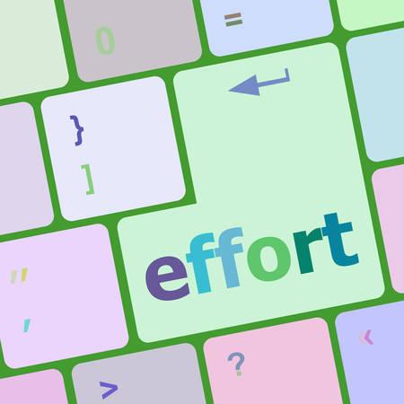 effort: effort word on keyboard key, notebook computer button vector illustration
