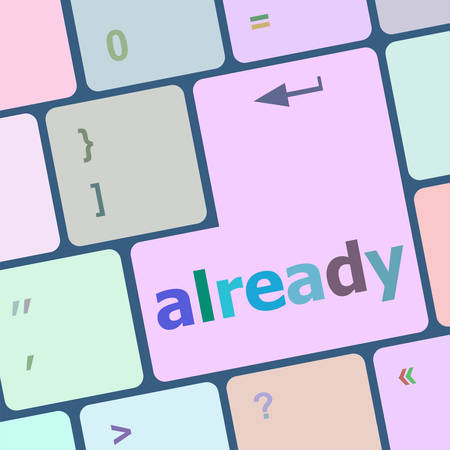 able to learn: already word on computer keyboard key, online education vector illustration