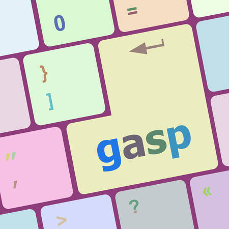 gasp: gasp word on keyboard key, notebook computer button vector illustration