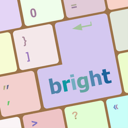 tiredness: Button with bright on computer keyboard. business concept vector illustration Illustration