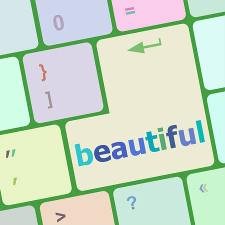 notebook computer: beautiful word on keyboard key, notebook computer button vector illustration Illustration
