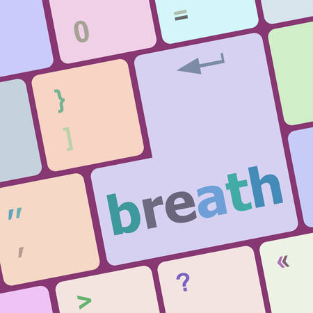 weariness: Button with breath on Computer Keyboard. Business Concept vector illustration