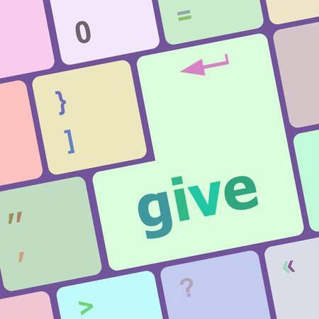notebook computer: give word on keyboard key, notebook computer button vector illustration