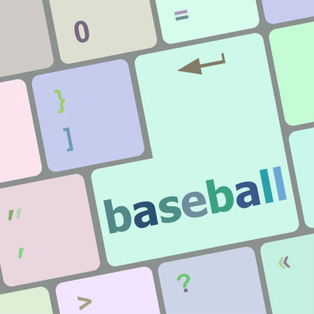 notebook computer: baseball word on keyboard key, notebook computer vector illustration