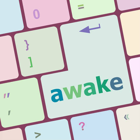 awake: awake word on keyboard key, notebook computer vector illustration Illustration