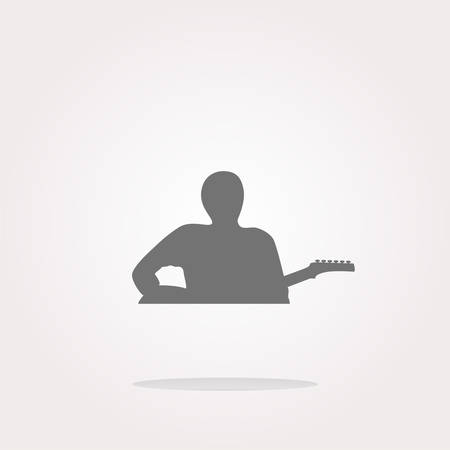 fingering: vector guitarist web icon button isolated on white. Web Icon Art. Graphic Icon Drawing