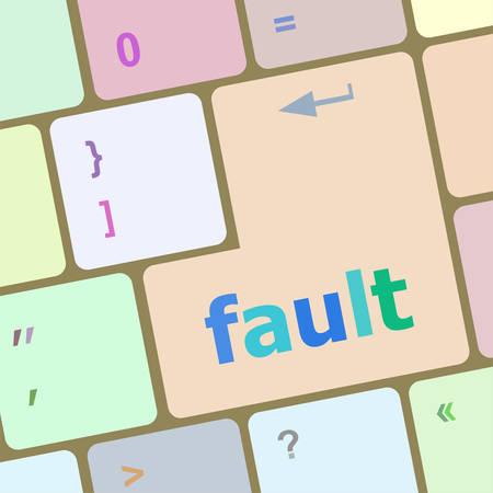 fault: fault button on computer pc keyboard key vector illustration Illustration