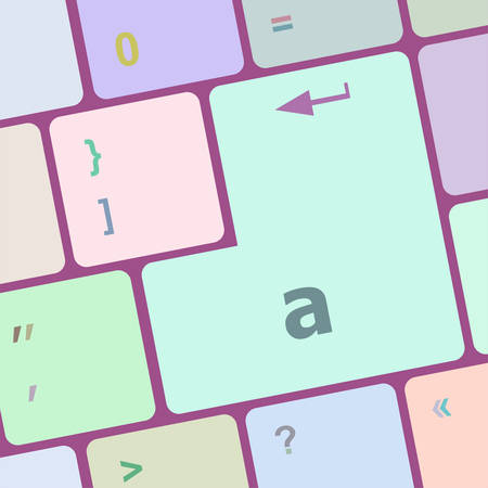 computer button: a word on computer button, keyboard key vector illustration Illustration