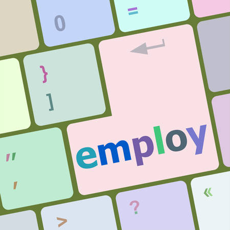 employ: employ button on computer pc keyboard key vector illustration