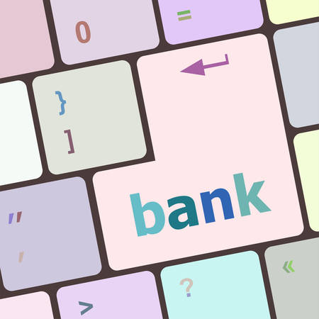 notebook computer: bank word on keyboard key, notebook computer vector illustration