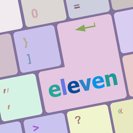 eleven: eleven button on computer pc keyboard key vector illustration