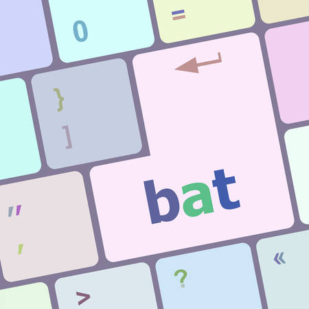 notebook computer: bat word on keyboard key, notebook computer vector illustration