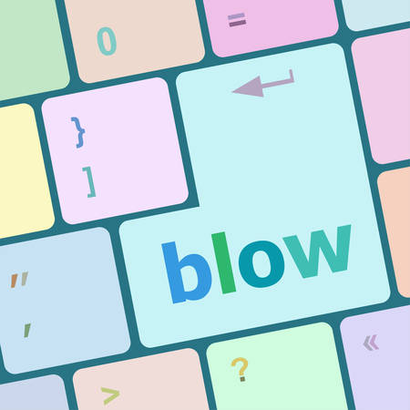 blow: blow button on computer pc keyboard key vector illustration