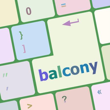 on the balcony: balcony computer keyboard key button vector illustration