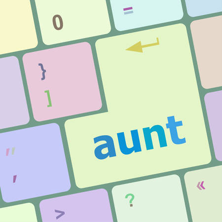 notebook computer: aunt word on keyboard key, notebook computer vector illustration
