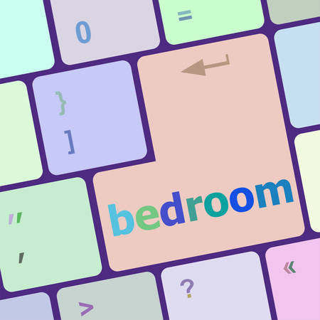 notebook computer: bedroom word on keyboard key, notebook computer button vector illustration