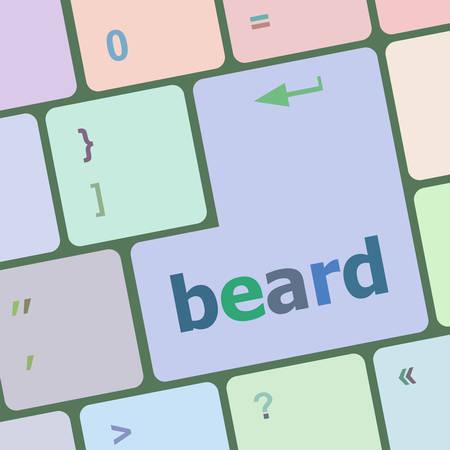 keyboard key: beard word on keyboard key Illustration