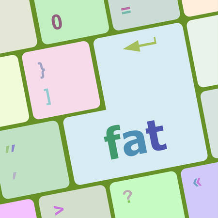 physically: computer keyboard with a word fat vector illustration