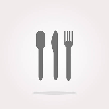 etiquette: fork and knife. Eat sign icon. Cutlery etiquette rules symbol. Circle and square buttons. Flat design set. Illustration