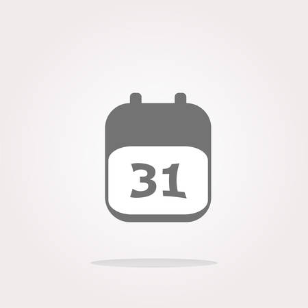 31: vector calendar apps icon glossy button. day 31