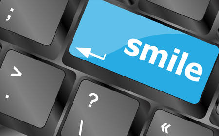 dissatisfaction: Computer keyboard with smile words on key - business concept. Keyboard keys icon button vector