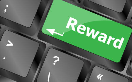 eminence: Rewards keyboard keys showing payoff or roi. Keyboard keys icon button vector