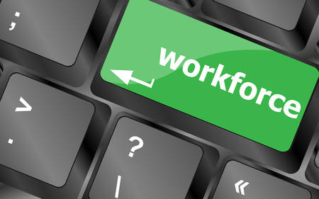 offshoring: Workforce keys on keyboard - business concept. Keyboard keys icon button vector Illustration