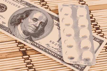 medical bill: Pills and american money close-up background vector illustration Illustration