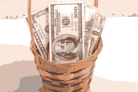 european money: european money on wooden basket vector illustration