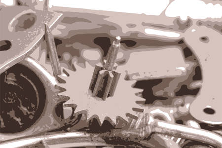 the details: the old bolts, screws and metal details close up vector illustration