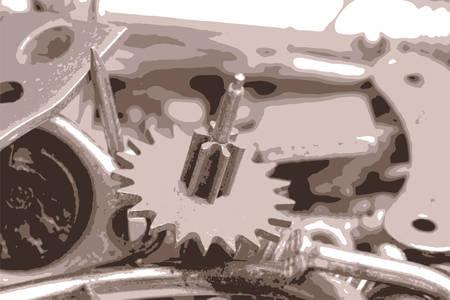 details: the old bolts, screws and metal details close up vector illustration